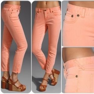 Free People | Ankle Zip Skinny Jeans in Peach 28